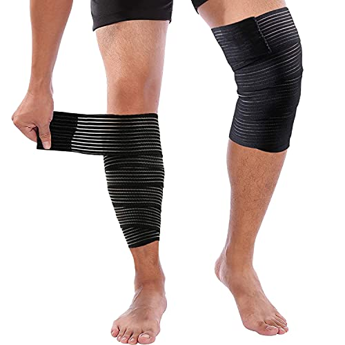 2 Pack Knee Brace, Compression Knee Sleeves for Knee Pain with Adhesive Straps, Adjustable Knee Brace Support for Men Women Working out Running Weight Training Black