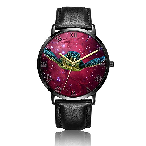 Relojes Anolog Negocio Cuarzo Cuero de PU Amable Relojes de Pulsera Wrist Watches Tortuga Nebulosa