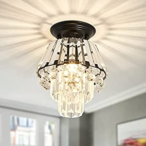 CVKASH Small Crystal Chandelier, Modern Metal Semi Flush Mount Ceiling Light Fixture ,Ceiling Lamps for Bedroom Hallway Closet Entryway Stairs Dining Room (Black )