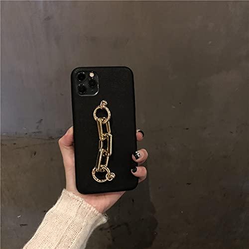 DEIOKL Fashion Classic Leather 3D Metal Square Pulsera de muñeca Funda Suave para teléfono para iPhone 11 12 Pro X XR XS MAX 7 8 Plus Funda de Lujo, 1, para iPhone 7