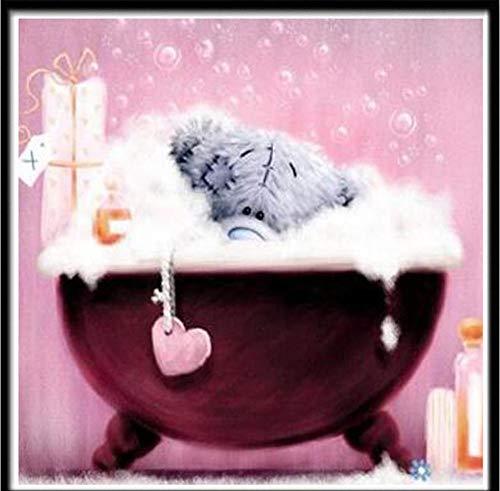 Mozaïek 5D diamant schilderij, rond, borduurwerk, mozaïek, decoratie, motief huis, knutselen, familie, diamant, handgemaakt, schattige beer in de badkuip