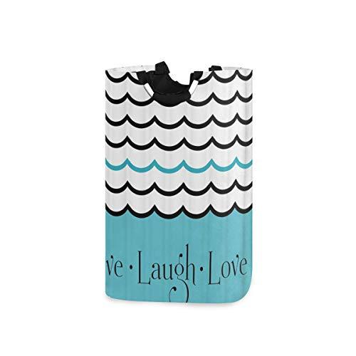 LOSNINA Wäschesammler Wäschekorb Faltbarer Aufbewahrungskorb,Live Laugh Love Nautisches Thema Welle Meerwasser Hand gezeichnete gekrümmte Linie mit kalligraphischen Buchstaben,Wäschesack