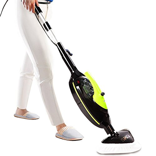 SKG 1500W Powerful Non-Chemical 212F Hot Steam Mops & Carpet and Floor Cleaning Machines (6-in-1 Accessories & 3 Microfiber Pads Included) - Steam Cleaners Second Hand