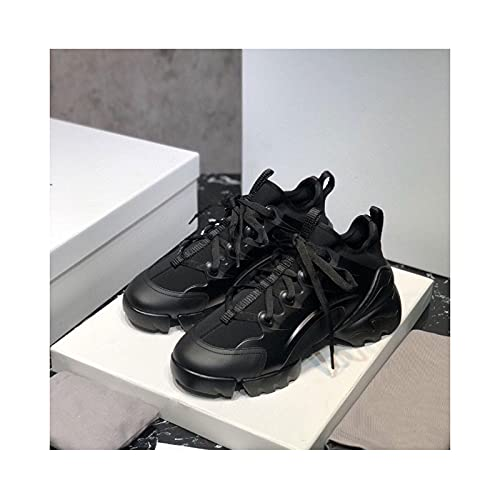 Platform Chunky Sneakers High Heels Women Autumn Thick Bottom Sneakers Height Increasing Woman Casual Shoes Outdoor Casual Jogging,Black-35 EU