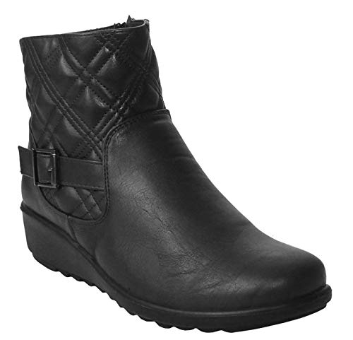 Cushion Walk Womens Ladies Lightweight Zip Up Girls Casual Comfort Ankle Boots UK Sizes 4-8 (UK 5, Black/Quilted)
