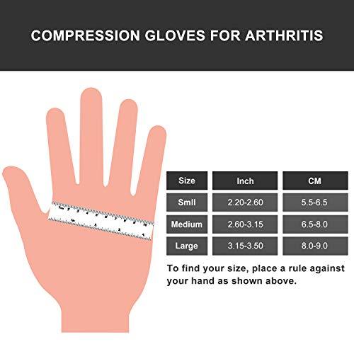SupreGear Arthritis Gloves (2 Pairs), Rheumatoid Arthritis Compression Gloves for Arthritis Hands, Pain Relief Gaming Typing Fingerless Gloves for Women Men (Grey, L)