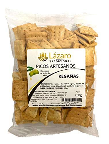 Lázaro Regañas Artesanas 200G, Picos de Pan Artesanos Elaborados con Aceite de Oliva Virgen Extra 200 ml