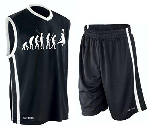 Coole-Fun-T-Shirts Basketball - Evolution ! Trikot Tank mit Hose Shirt schwarz Gr.4XL