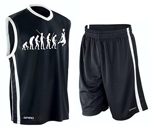 Coole-Fun-T-Shirts Basketball - Evolution ! Trikot Tank mit Hose Shirt schwarz Gr.L