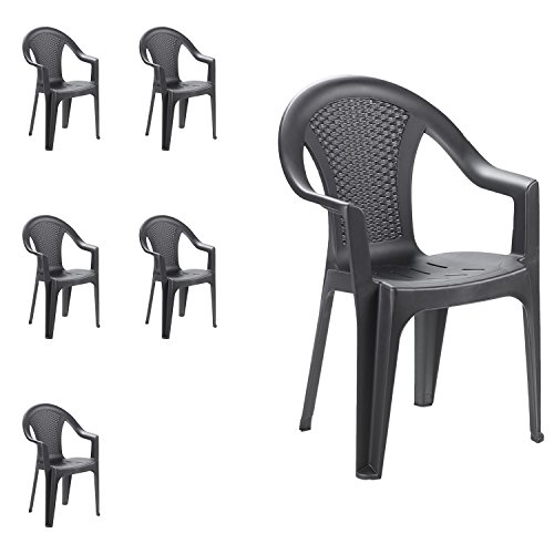 Mojawo - Set di 6 sedie impilabili da giardino, da balcone o da bar, impilabili, con effetto rattan. colore: antracite