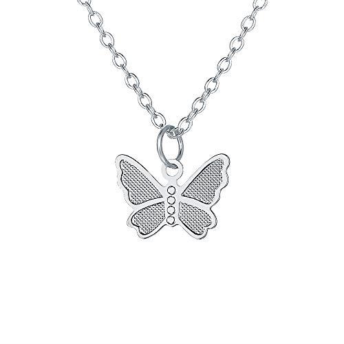 AYZ Collar bohemio con colgante de mariposa para cumpleaños, joyería de la amistad (plata)
