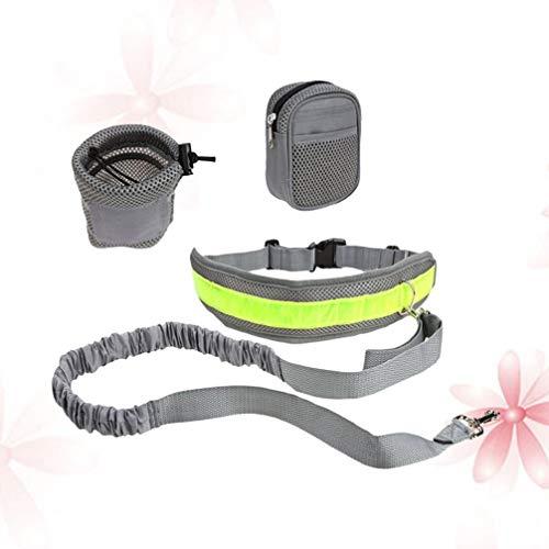 Balacoo 4Pcs / Set Retractable Reflective Padded Ajustable Manos Libres Running Dog Leash Set para Caminar Correr Correr Gris