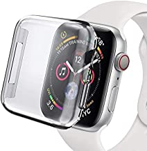 Tech Express Built in Clear Screen Protector Case for Apple Watch Series 4 [iWatch Cover] 40mm, 44mm Snap On Rugged Shockproof Protective Bumper Hard PC (40mm)
