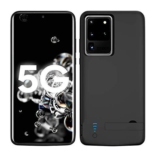 Akkuhülle für Samsung S20 Ultra, 6000mAh Zusatzakku Handyhülle Akku Battery Hülle Powerbank Hülle für Samsung Galaxy S20 Ultra 5G [6,9 Zoll] Tragbare Charger Hülle - Schwarz
