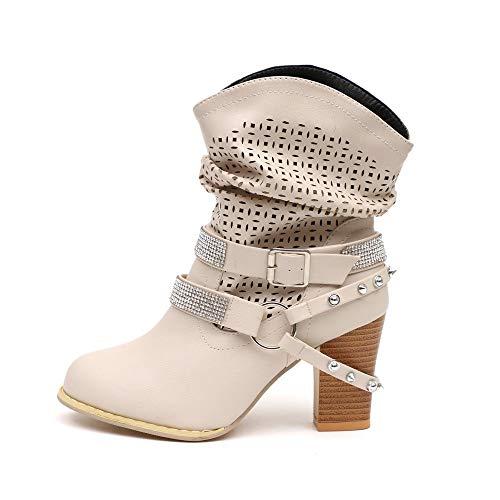 ZODOF Botas Altas Huecas De Moda Mujeres OtoñO Invierno Ahueca hacia Fuera Botines SeñOras TalóN Mitad Navidad Boots Zapatos