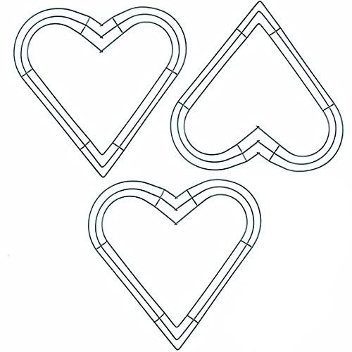VURGER Marco de corona de alambre de estrella de 30 cm para el día de la independencia de San Valentín, decoraciones florales arreglos de bricolaje (corazón, 30 cm)