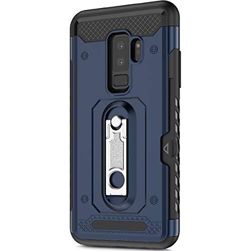 KunyFond Support Mobile Carte Credit Deux en un Gel Housse Étui Armure 2 en 1 Souple Flexible Mince PC+TPU Anti-chute Etui Bumper Case Cover Couverture Coque Compatible Samsung Galaxy S9 Plus-Bleu