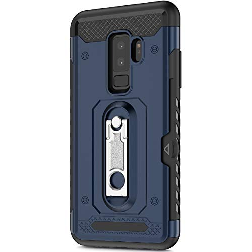 KunyFond Support Mobile Carte Credit Deux en un Gel Housse Étui Armure 2 en 1 Souple Flexible Mince PC+TPU Anti-chute Etui Bumper Case Cover Couverture Coque Compatible Samsung Galaxy S9 Plus-Bleu