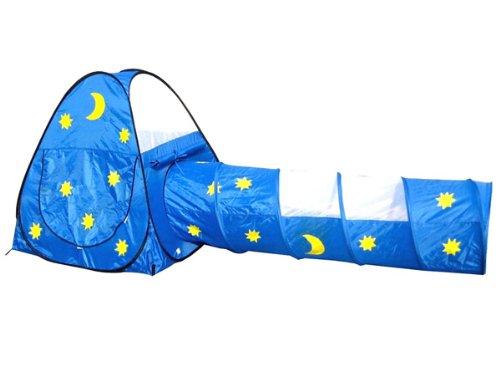 Mond & Sterne Tunnel Bällebad pop up Zelt mit 150 bunten Bällen