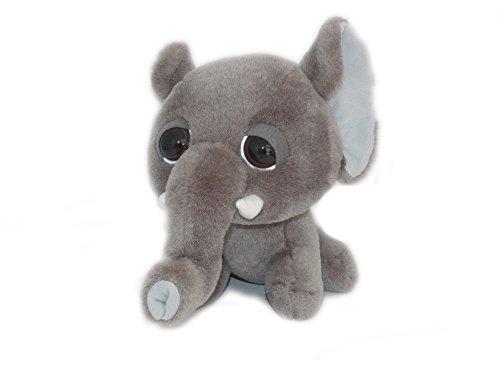 PELUCHE DOUDOU ELEPHANT GRIS BIG HEADZ - H 22 cm