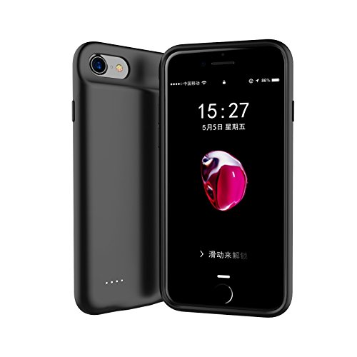 iPhone Battery Charging Case for iPhone 8 Plus/7 Plus/6 Plus/6s Plus Battery Case with Lightning Port,Ultra Slim Protective iPhone 8Plus/7Plus Charging Case with Magnetic Stand Function(Black)