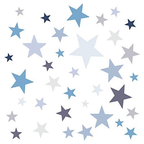 Little Deco Wandaufkleber 60 Sterne Kinderzimmer Junge Stars I blau grau I Wandtattoo Schlafzimmer Wandsticker Set Wohnzimmer bunt selbstklebend DL396