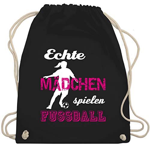 Shirtracer Fußball - Echte Mädchen spielen Fußball weiß - Unisize - Schwarz - fussballschuhe mädchen - WM110 - Turnbeutel und Stoffbeutel aus Baumwolle