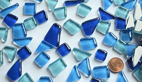 200g (32,95 € / KG) Soft Glas-Mosaiksteine unregelmäßig (Polygonal) glänzend, nicht lichtdurchlässig (Blaumix)