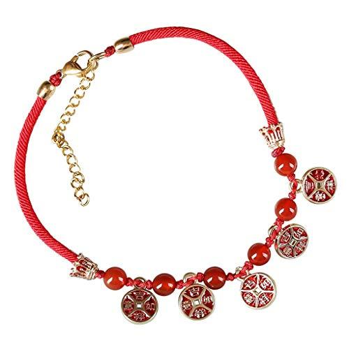 Mujeres Niñas for el Tobillo Descalzo joyería Retro Rojo de la joyería de la Cuerda del pie de ágata roja joyería Moldeada