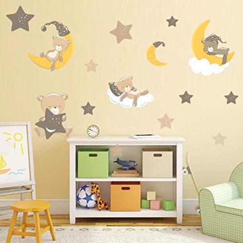 Dibujos animados lindo oso animales pegatinas de pared para habitación de niños Pvc Luna estrella calcomanías decorativas para pared de guardería bebé decoración 25 * 79Cm