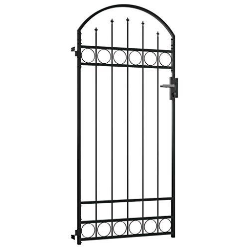 YVX Puerta de Valla con Parte Superior arqueada Entrada de jardín Jardín Exterior Panel de Patio Puerta de Barrera Acero 100x200 cm Negro