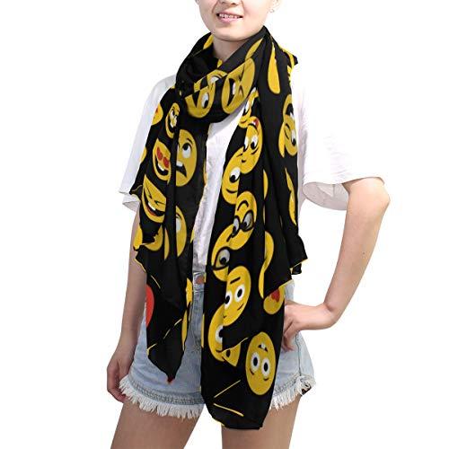 LZXO - Bufanda para mujer, diseño de emoticonos de dibujos animados, bufanda larga, bufanda suave, ligera para todas las estaciones