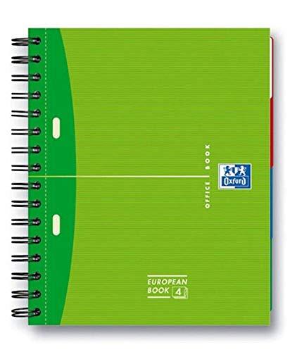 Hamelin Papierbrands 353002500 European Book Oxford Office, extra stabiler Deckel, 5mm kariert, A5+, 200 Blatt, farbig sortiert