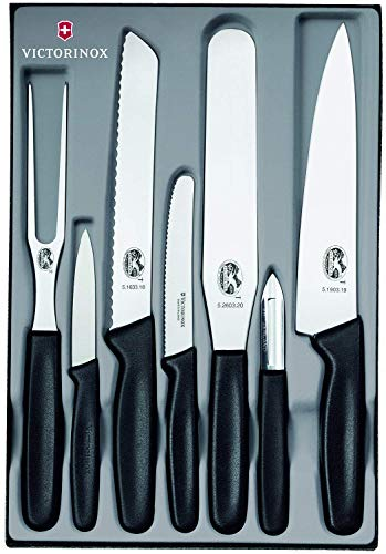 Victorinox Küchenhelfer-Set, 7-tlg., Fleisch-/Bratengabel, Gemüse-, Brot-, Tranchiermesser, spülmaschinengeeignet, schwarz