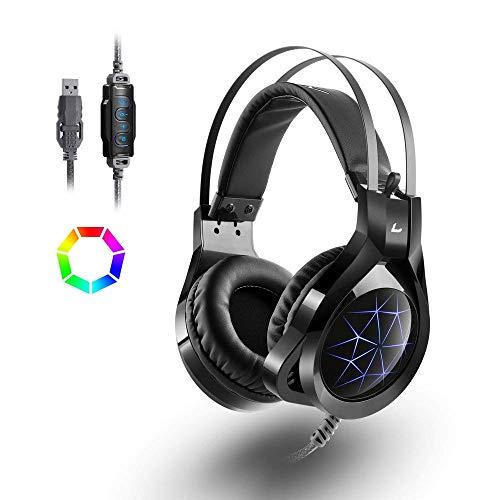 Casque Gaming Gamer PC PS4, Casque Audio Filaire MAD GIGA Casque PS4 Microphone 7.1 Surround Prise USB Anti-Bruit, LED, Casque PC avec Micro Super Léger Confortable Bass Stéréo Noir (Micro Intégré)