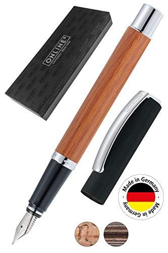 Online 36915, penna stilografica'Vision Nature', in legno di palissandro, con confezione regalo molla M Palissandro