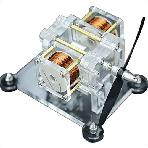 BJH Motor de Pasillo de Alta Velocidad de Doble Bobina, Juguete físico generador de Electricidad, Experimento eléctrico de Regalo Creativo, Modelo de Experimento físico - 1500 RPM