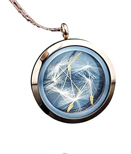 Medaillon Kette mit Echten Pusteblumen - 925 Sterling Silber Rose Vergoldet - Handgefertigt
