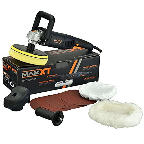 MAXXT Buffer Polisher, Variable Speed Polishing Tool,7-Inch Car Polisher, Car Detailing Kit with G and Side Handle,Woolen fleece hood,Terry polishing bonnet,Sanding discs