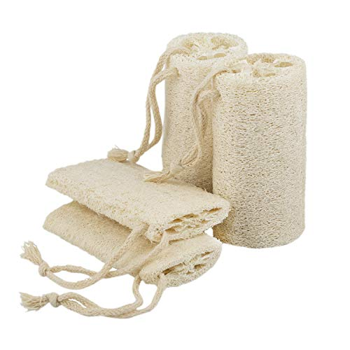 """5"""" Natural Loofah Exfoliating Body Sponge Scrubber for Skin Care in Bath Spa Shower Pack of 4"""