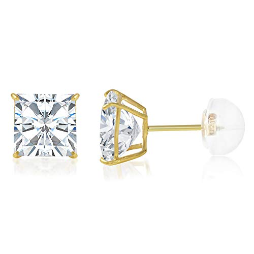 14K Yellow Gold Square Solitaire Princess Cut Cubic Zirconia CZ Stud Push Back Earrings - 1.25 ct (6mm)