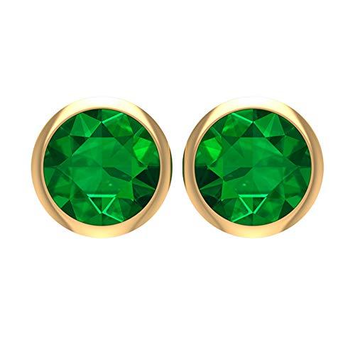 Rosec Jewels 14 quilates oro amarillo redonda Green Emerald