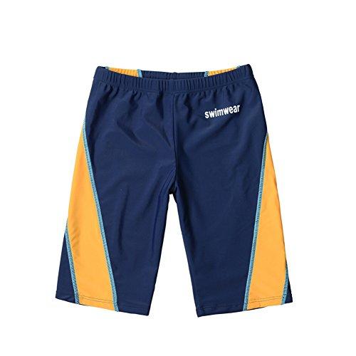 WESIZAR Boys Panel Jammer Swimsuit Solid Sport Swim Trunks Quick Dry Swimwear for 6-8 Years Orange and Black