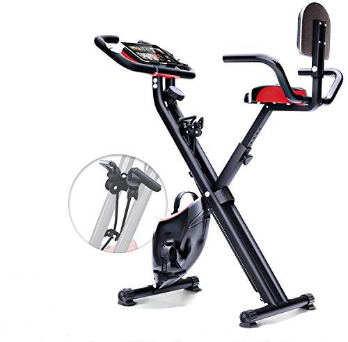 Mugar-Bicicleta estática Plegable X-Bike MG con Sistema de Resistencia Inteligente, Respaldo, Soporte para Tableta, Niveles de Resistencia magnetica, pulsometro Integrado y Cintas