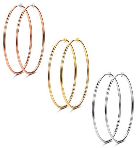 Udalyn 3 Pairs Women Big Stainless Hoop Earrings Set Clip On Hoop Earrings For Women Large Non Pierced Earring Jewelry 50 mm