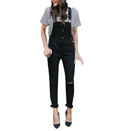 Rambling Fashion New Womens Denim Ripped Hole Bib Overall Jumpsuit Casual Jeans Pants (Black A, S)