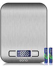 Eono by Amazon - Báscula de cocina digital; báscula de acero inoxidable de con opción de gramos y onzas para hornear y cocinar; 5kg/1g