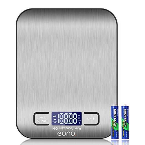 Amazon Brand – Eono Balance de cuisine/pâtisserie numérique en acier inoxydable de haute qualité, avec fonction grammes et onces, garantie de 15 ans et charge maximale de 5 kg par paliers de 1 g