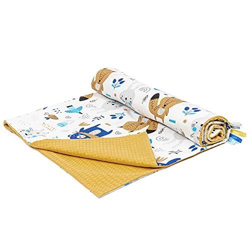 Babydecke Baumwolle Waffelpique Kuscheldecke 75x100 - Sommer Baby Decken Kinderwagen Kinderwagendecke für Jungen Senfgelb mit Tieren