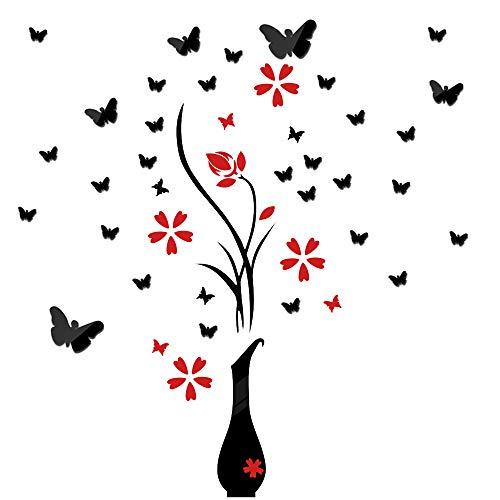 Pegatinas Pared Espejo Flores Florero Y 25Pcs Mariposas Vinilos Decorativas Adhesivos DIY Hogar Salón Dormitorio Baño Habitación Negro Rojo